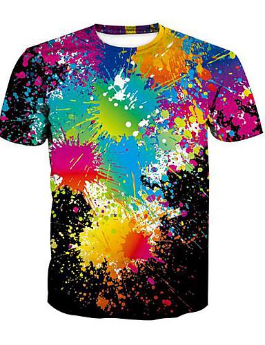 abordables Camisetas y Tops de Hombre-Hombre Chic de Calle Camiseta Arco iris Negro XL / Manga Corta