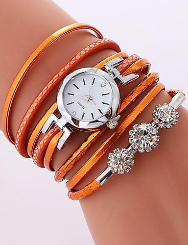7f21b007c95 Mulheres senhoras Bracele Relógio envoltório relógio Quartzo Enrole Couro  PU Acolchoado Preta   Branco   Azul Relógio Casual imitação de diamante  Analógico ...