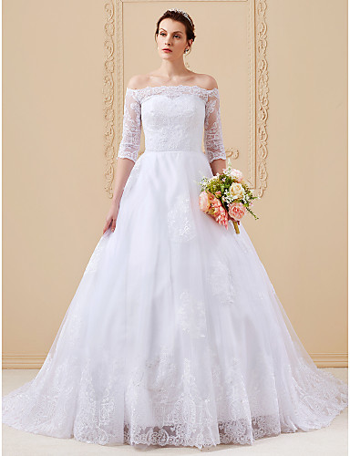 abordables Vestidos de Novia-Salón Hombros Caídos Catedral Encaje sobre tul Vestidos de novia hechos a medida con Apliques por LAN TING BRIDE®