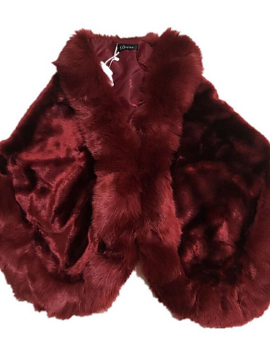 Women's Daily Fall / Winter Regular Fur Coat, Solid Colored Square Neck Half Sleeve Faux Fur Red / Gray / Wine One-Size