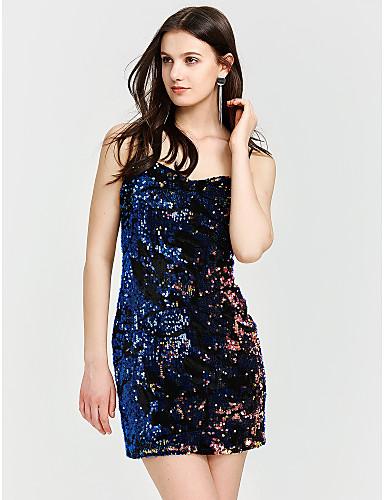 לב (סוויטהארט) מעל הברך קולור בלוק - שמלה צינור מועדונים בגדי ריקוד נשים