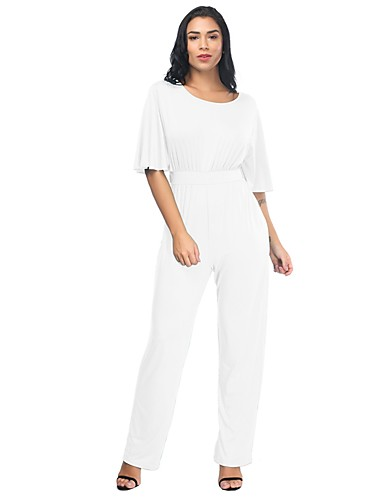 77c499b0905 Women s Plus Size Daily   Holiday Basic   Street chic Gray Wine Light Blue Loose  Jumpsuit