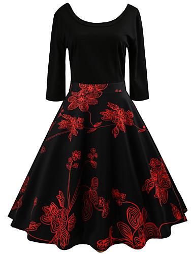Damskie Wyjściowe Vintage / Moda miejska Linia A Sukienka - Kwiaty, Nadruk Midi / Wiosna / Lato