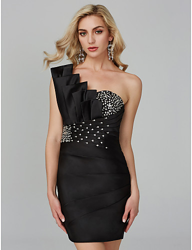 cheap Black Dresses-Sheath / Column One Shoulder Short / Mini Satin Cocktail Party Dress with Beading / Ruched / Bandage by TS Couture®