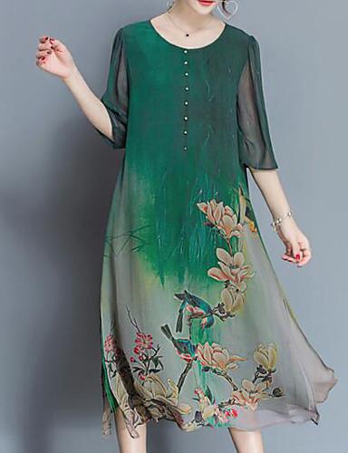 رخيصةأون فساتين مطبوعة-فستان نسائي قياس كبير فضفاض شيفون النمط الصيني طباعة ميدي الأشجار / الأوراق / ورد