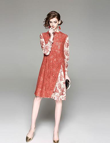 55cf4ba0ce53 Women's Daily / Going out Basic Lantern Sleeve Loose Chiffon Dress - Floral  Lace / Split / Print Stand Spring Orange L XL XXL #06606210