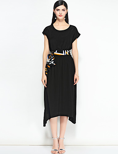 Damskie Wyjściowe Boho / Moda miejska Linia A Sukienka - Solidne kolory Midi / Wiosna / Lato