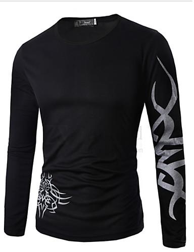 T-shirt Męskie Aktywny Bawełna Okrągły dekolt Szczupła - Geometric Shape / Długi rękaw