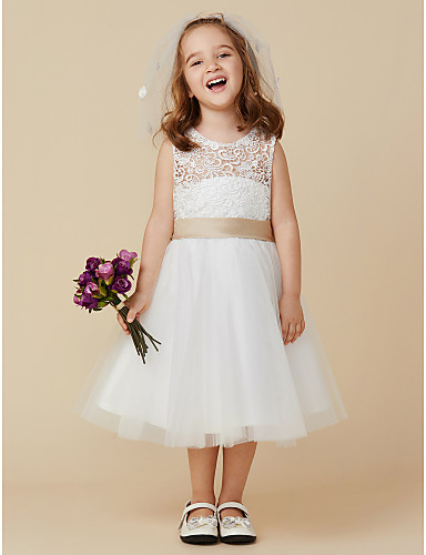 Princess Knee Length Flower Girl Dress - Lace Tulle Sleeveless Scoop Neck with Bow(s) Sash / Ribbon by LAN TING BRIDE®