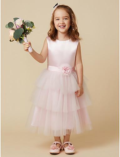 A-Line Knee Length Flower Girl Dress - Satin Tulle Sleeveless Jewel Neck with Sash / Ribbon Flower by LAN TING BRIDE®