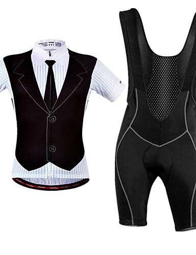 cheap Cycling Clothing-WOSAWE Men's Short Sleeve Cycling Jersey with Bib Shorts - Black Bike Clothing Suit Breathable Moisture Wicking Reflective Strips Sports Elastane Suit T-Shirt Mountain Bike MTB Road Bike Cycling