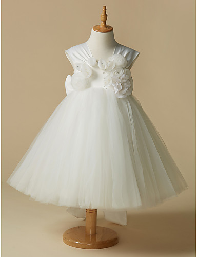ccf26414fb0 A-Line Knee Length Flower Girl Dress - Satin   Tulle Sleeveless Straps with  Sash