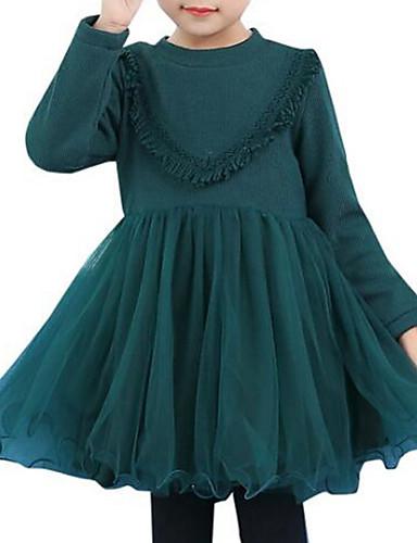 Sukienka Bawełna Rayon Dziewczyny Urlop Wielokolorowa Zima Jesień Długi rękaw Aktywny Księżniczka Clover Czerwony Light Blue