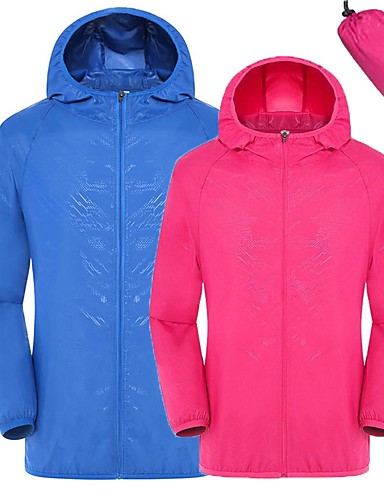 cheap Softshell, Fleece & Hiking Jackets-Unisex Hiking Jacket Outdoor Lightweight Windproof UV Resistant Quick Dry Spring, Fall, Winter, Summer Jacket Camping / Hiking Outdoor Exercise Travel Sky Blue Green Pink XL XXL XXXL