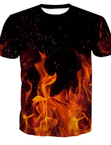 Ανδρικά T-shirt Βασικό Συνδυασμός Χρωμάτων Στρογγυλή Λαιμόκοψη Στάμπα / Κοντομάνικο