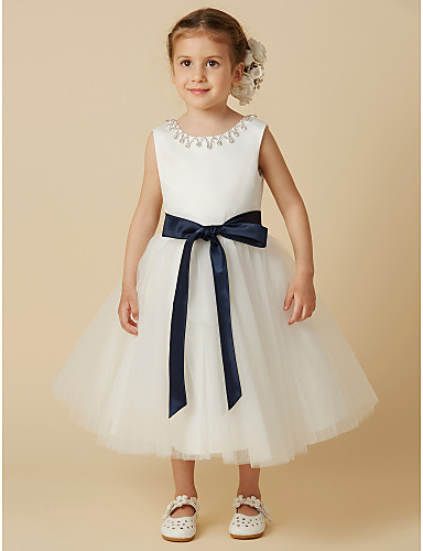 4ccabb6132 Princess Tea Length Flower Girl Dress - Satin   Tulle Sleeveless Jewel Neck  with Beading   Sash   Ribbon by LAN TING BRIDE®