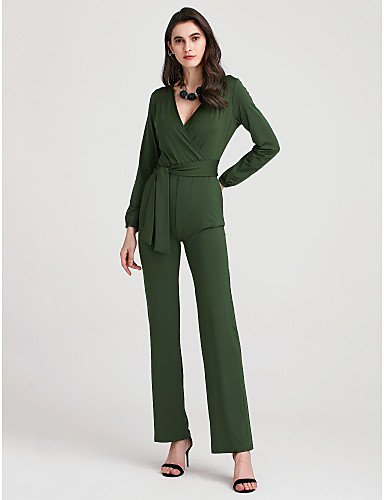 Women's Club Holiday Street chic Jumpsuit - Solid Colored High Rise Wide Leg Deep V