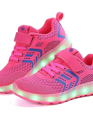 f6b521f485f Κοριτσίστικα Παπούτσια Πλεκτό / Τούλι Άνοιξη Ανατομικό / Φωτιζόμενα  παπούτσια Αθλητικά Παπούτσια LED για Μαύρο / Σκούρο μπλε / Ροζ