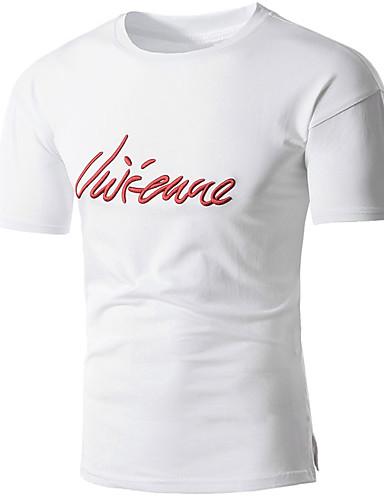 T-shirt Męskie Aktywny / Podstawowy Bawełna Okrągły dekolt Litera / Krótki rękaw