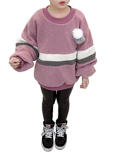 Bluzka Kaszmir Poliester Dla dziewczynek Prążki Wielokolorowa Zima Jesień Długi rękaw Na co dzień Brown Blushing Pink