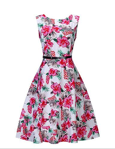 Damskie Wyjściowe Moda miejska Bawełna Szczupła Swing Sukienka - Kwiaty Do kolan / Seksowny