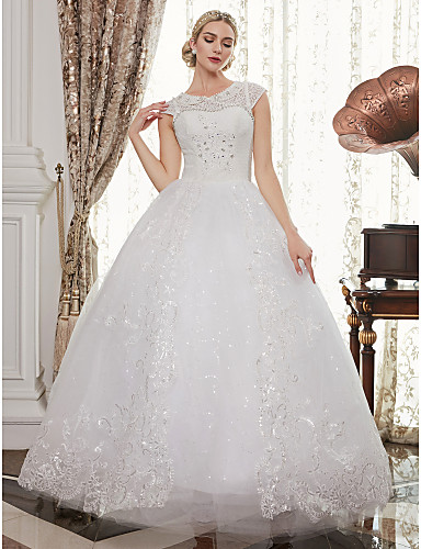 Ball Gown Illusion Neck Floor Length Lace Over Tulle Made-To-Measure ...