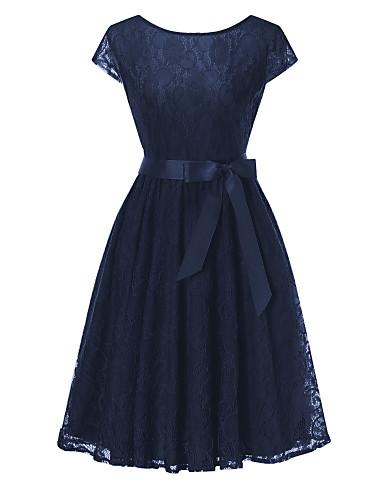 billige Kjoler-Dame Vintage Grunnleggende Tynn A-linje Skjede Kjole - Ensfarget, Blonde Utskjæring Lace Trim Knelang