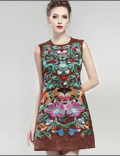 מיני דפוס, פרחוני - שמלה גזרת A סגנון רחוב בגדי ריקוד נשים