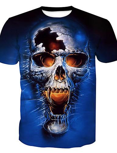 e19837d6472f Ανδρικά T-shirt Βασικό - Βαμβάκι Νεκροκεφαλές Στρογγυλή Λαιμόκοψη Στάμπα  Θαλασσί XXL   Κοντομάνικο