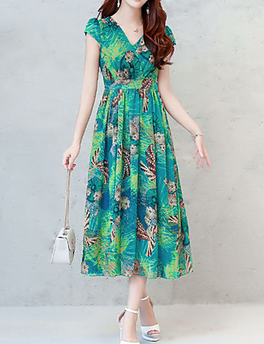 4de0504f7e14 Women's Plus Size Daily Holiday Boho Sophisticated Slim Sheath Swing Dress  - Floral Print V Neck Spring Green Red Purple XL XXL XXXL