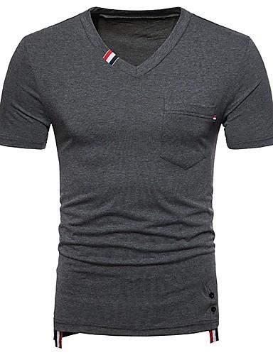 T-shirt Męskie Podstawowy, Patchwork Bawełna W serek Kolorowy blok / Krótki rękaw