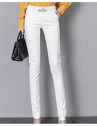 billige Tights til damer-Dame Daglig Arbeid Tynn Dressbukser Bukser - Ensfarget Bomull Hvit Svart L XL XXL