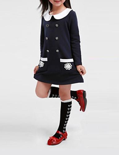 Mädchen Kleid Solide Baumwolle Polyester Winter Frühling Herbst Langarm Dunkelblau Wassermelone