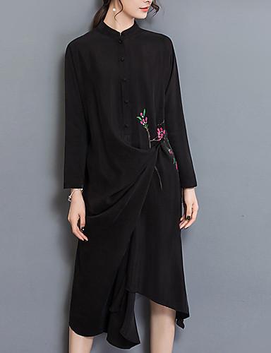 Damskie Podstawowy Bufka Shift Sukienka - Jendolity kolor / Geometryczny, Plisy Do kolan Czarno-czerwony