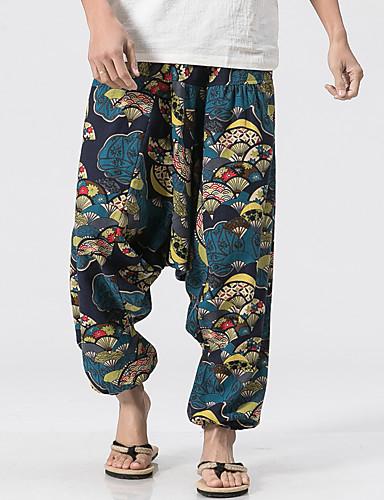 Bărbați In Larg Picior Larg Pantaloni Geometric