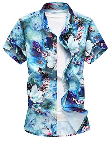 voordelige Herenoverhemden-Heren Chinoiserie Overhemd Strand Bloemen blauw / Korte mouw