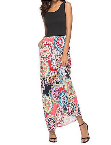 فستان نسائي ثوب ضيق أناقة الشارع / راقي طباعة - قطن طويل للأرض نحيل هندسي مناسب للخارج / مثير