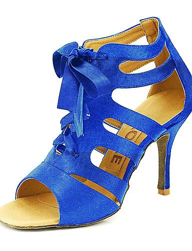 abordables Déstockage Mariages & Soirées-Femme Chaussures de danse Satin Salon / Chaussures de Salsa Boucle Sandale Personnalisables Jaune / Fuchsia / Violet / EU42