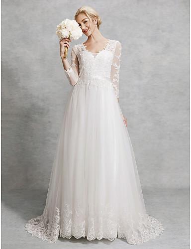corte en a escote en pico corte encaje / tul vestidos de novia
