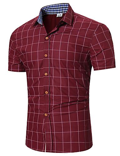 abordables Camisas de Hombre-Hombre Básico Algodón Camisa Delgado Cuadrícula Azul Marino M / Manga Corta / Verano