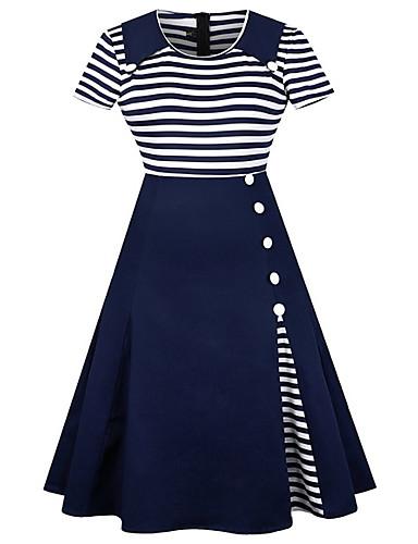 billige Kjoler-Dame Gatemote Skjede Kjole - Stripet Firkantet hals Midi