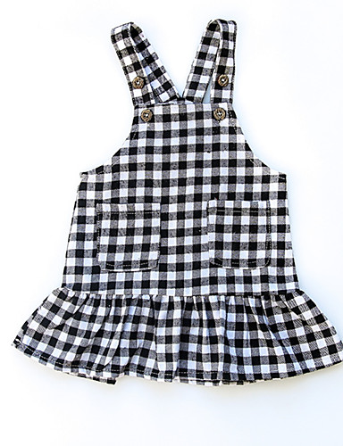 Dziecko Dla dziewczynek Czarno-biały Kratka Bez rękawów Sukienka