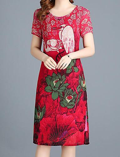 Pentru femei Șic Stradă / Chinoiserie Shift Rochie - Crăpătură, Floral / Plisat / Animal Lungime Genunchi Macara