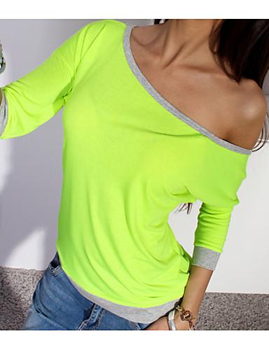 billige Dametopper-Bomull Båthals T-skjorte Dame - Ensfarget / Fargeblokk Blå