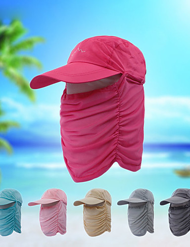 cheap Outdoor Clothing-Hiking Cap Fishing Hat Pollution Protection Mask Hat One Panel Sunscreen UV Resistant Breathable Fast Dry Solid Colored Fashion Ice Silk Summer for Men's Women's Fishing Hiking Cycling / Bike Pink