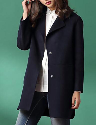 billige Ytterklær til damer-Store størrelser Skjortekrage Frakk - Ensfarget Dame