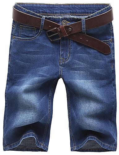 Bărbați Mărime Plus Size Bumbac Zvelt Blugi / Pantaloni Scurți Pantaloni Mată / Vară / Sfârșit de săptămână