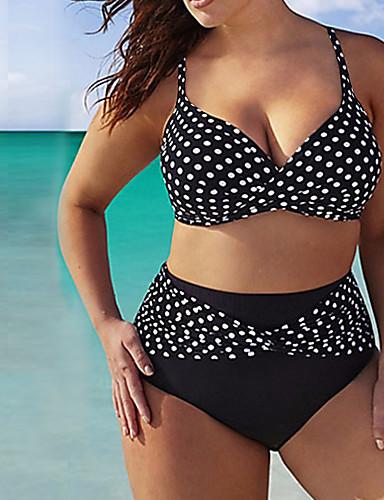 Dame Plusstørrelser Med stropper Bikini - Prikker Underbukser