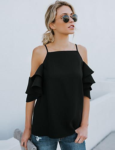 abordables Camisas y Camisetas para Mujer-Mujer Chic de Calle / Punk & Gótico Festivos / Noche Blusa, Con Tirantes Un Color Blanco M