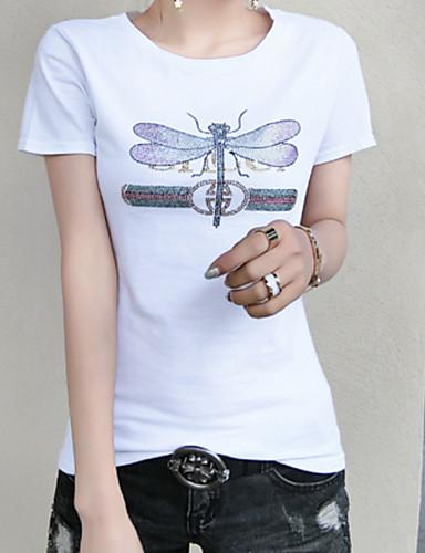 billige Topper til damer-Bomull T-skjorte Dame - Ensfarget / Dyr / Bokstaver Hvit XL